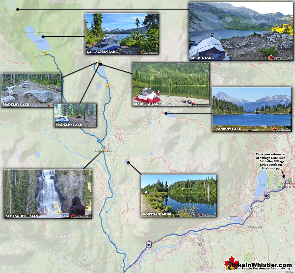 Callaghan Valley Attractions Map
