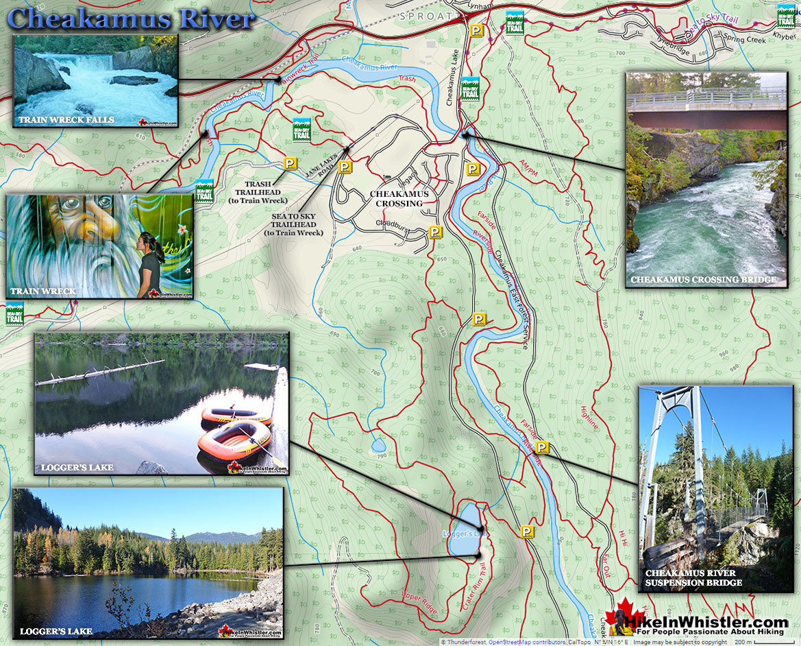 Cheakamus River Hiking Trails Map
