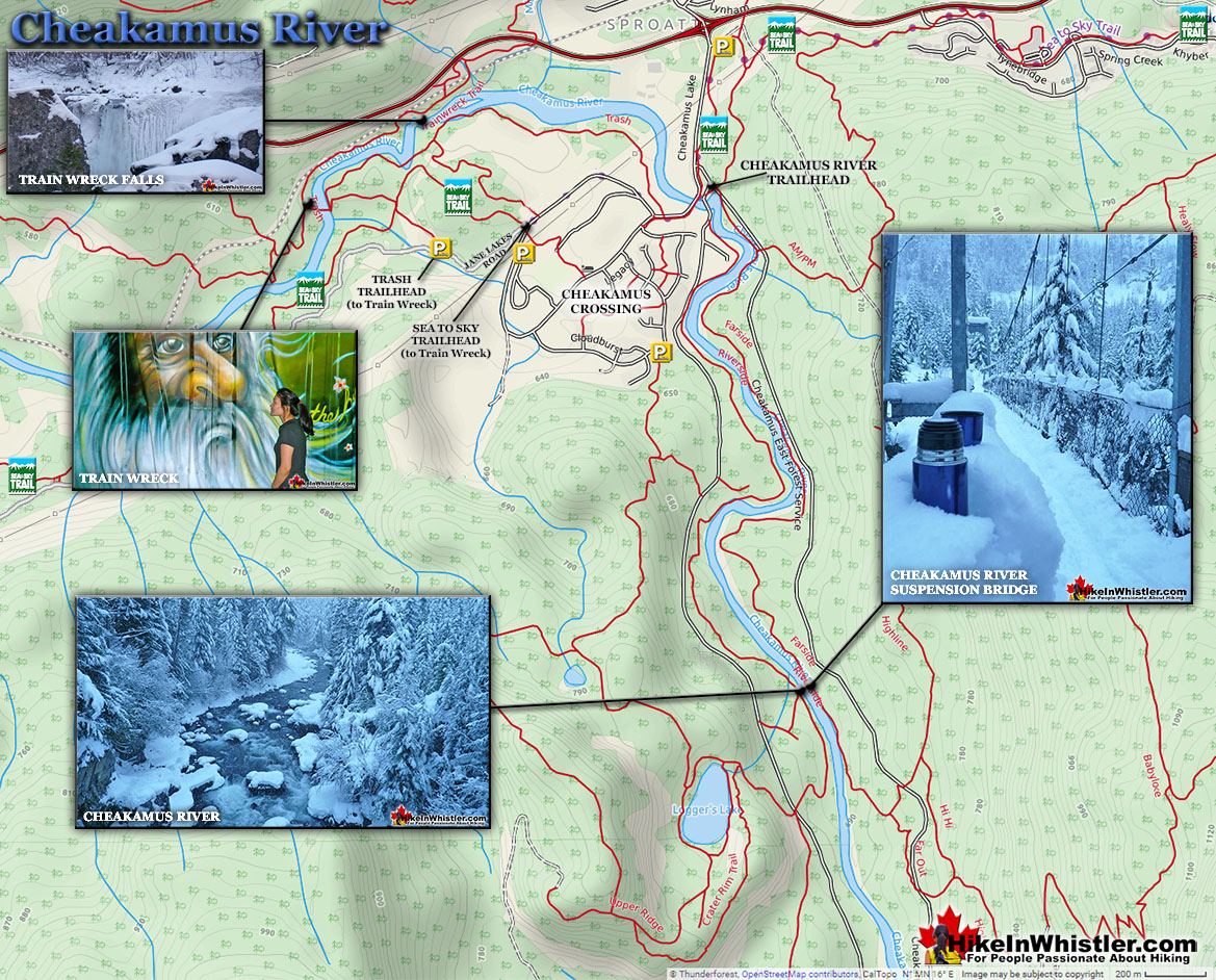 Cheakamus River Snowshoeing Map
