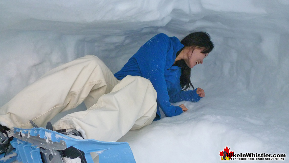 A Quinzee(snow cave shelter) Outside the Hut