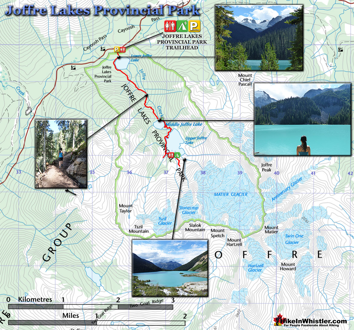 Joffre Lakes Provincial Park Map - Hike in Whistler