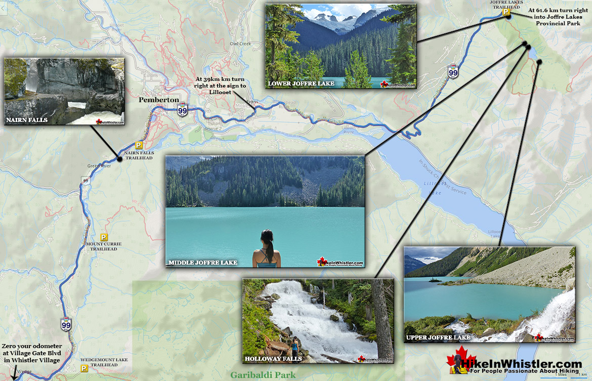 Driving to Joffre Lakes Map