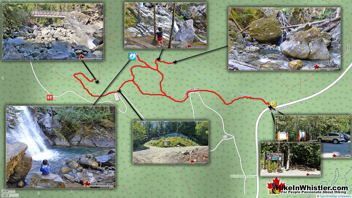 Rainbow Falls Trail Map Best Hiking Whistler