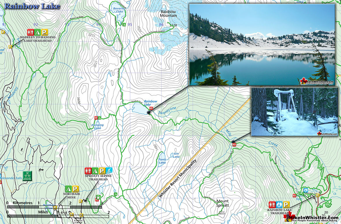 Rainbow Lake Snowshoe Map