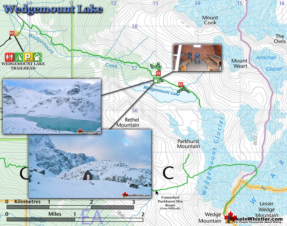 Wedgemount Lake Snowshoe Map