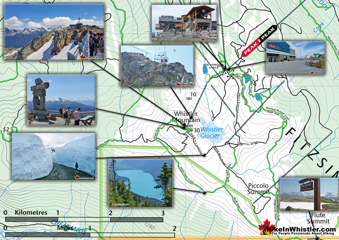 Whistler Mountain Hiking Trails Map Overall