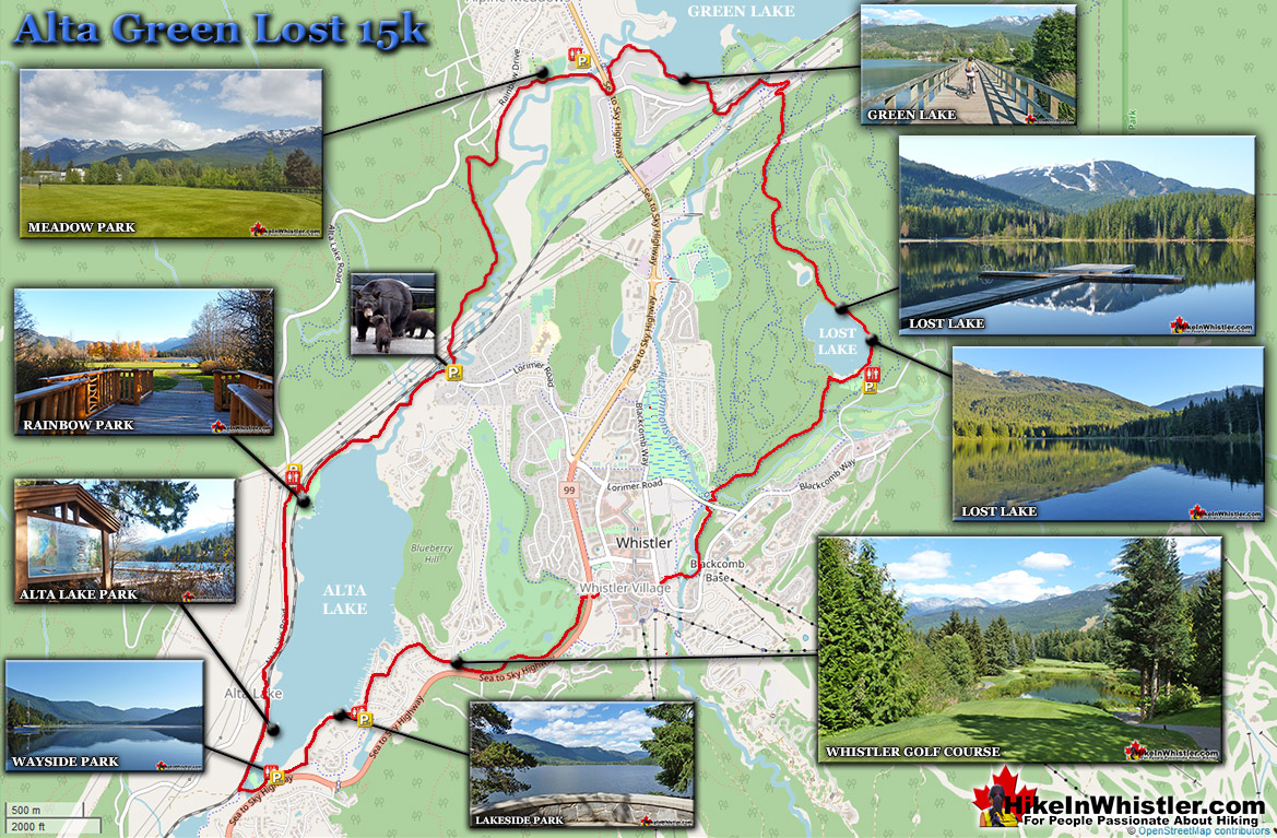 Alta Green Lost 15k Run in Whistler Map