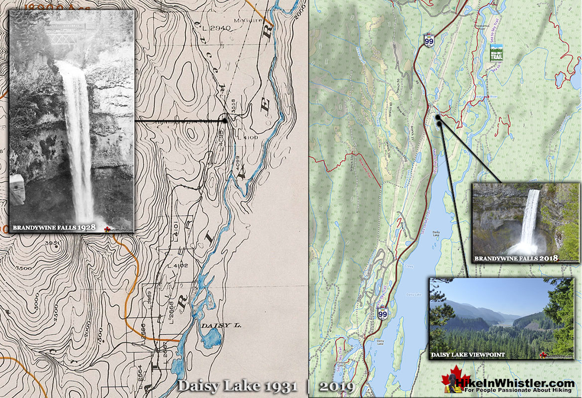 Brandywine Falls 1928 and 2019 Map