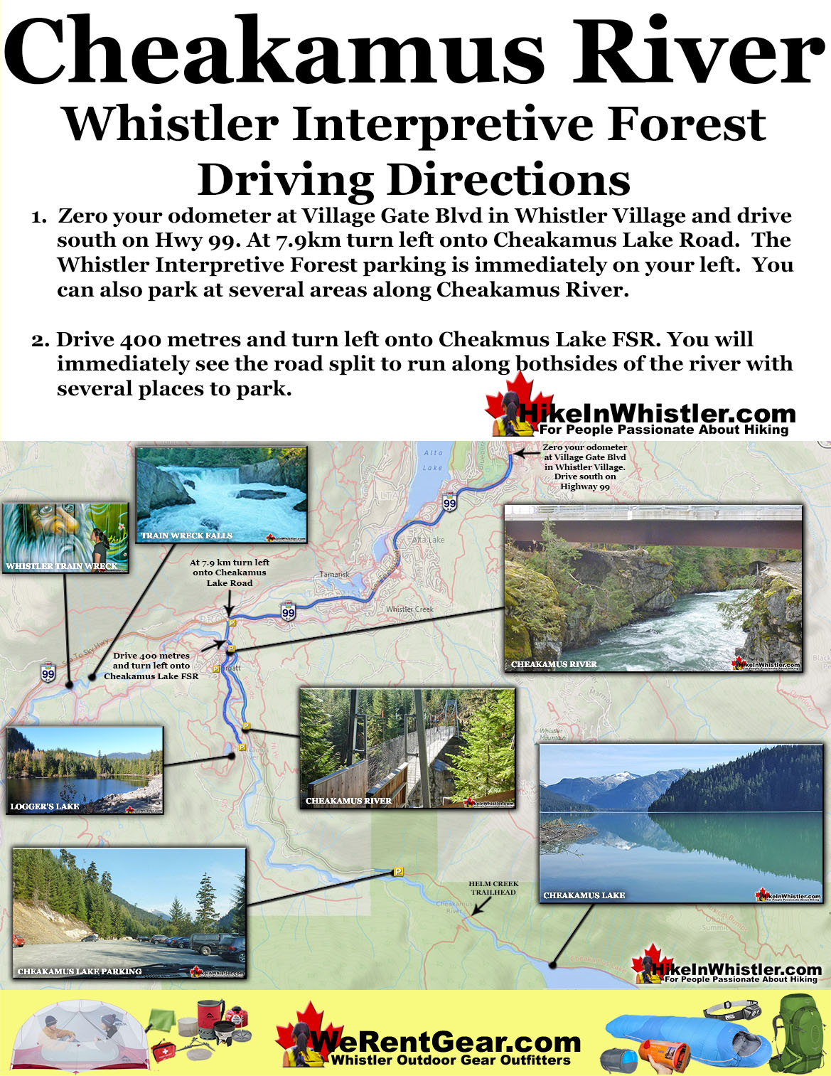 Cheakamus River Driving Directions Map