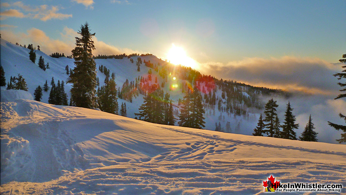 Snowshoeing From Elfin Lakes at Sunset