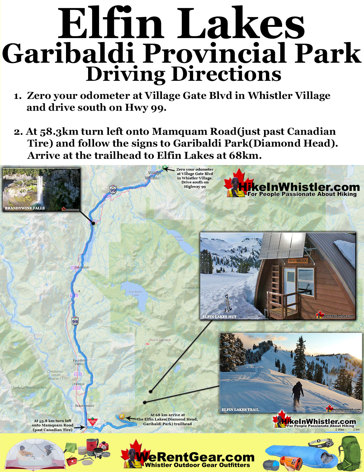 Elfin Lakes Directions Map