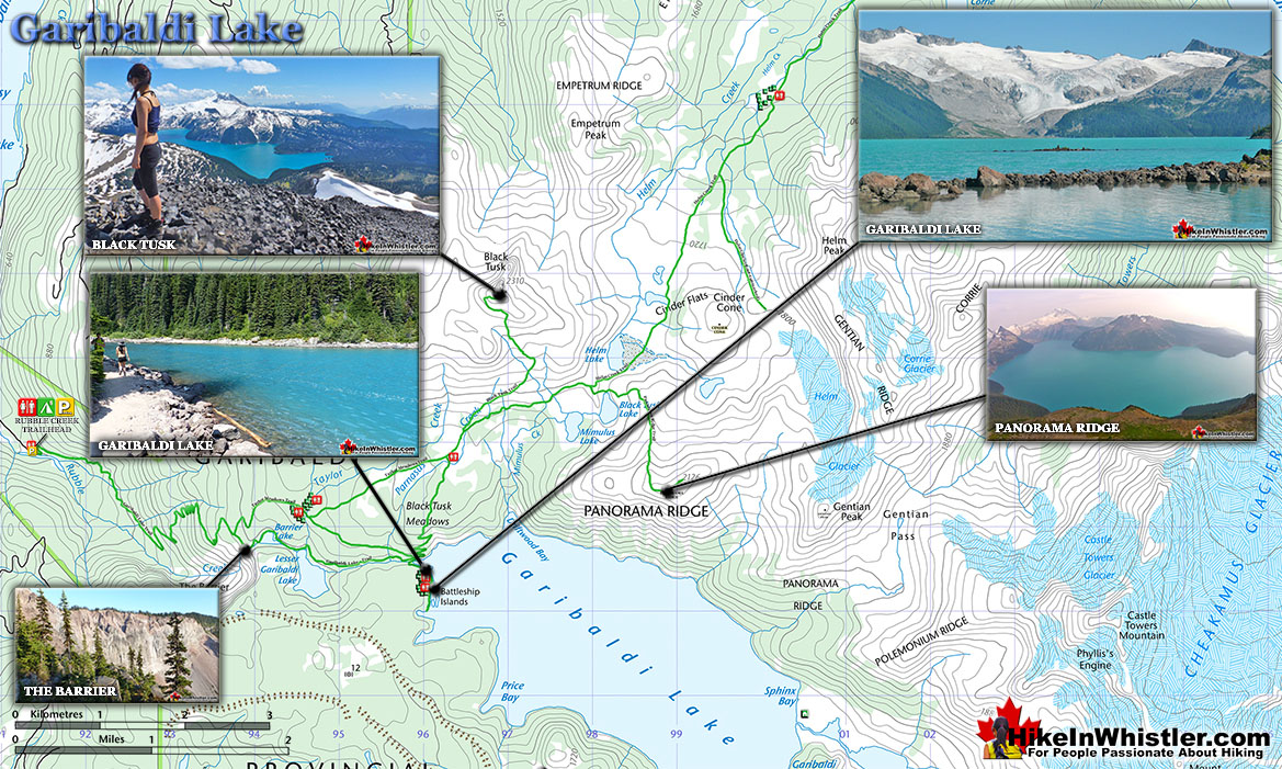 Garibaldi Lake Hiking Trail Map
