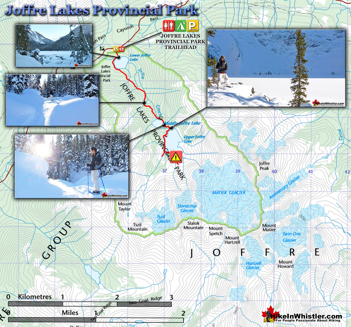Joffre Lakes Provincial Park Winter Map