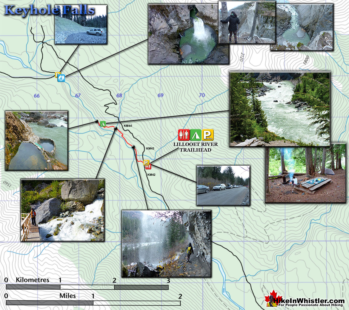 Keyhole Falls and Hot Springs Map
