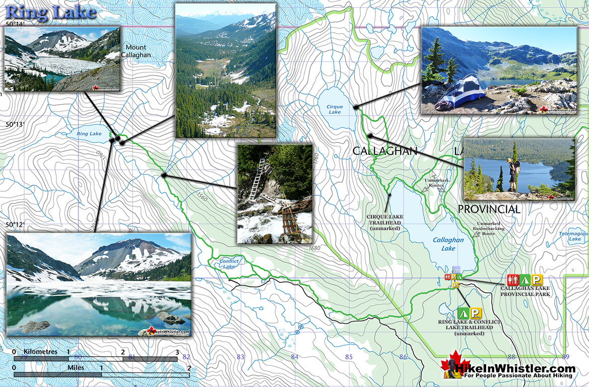 Ring Lake Trail Map - Hike in Whistler