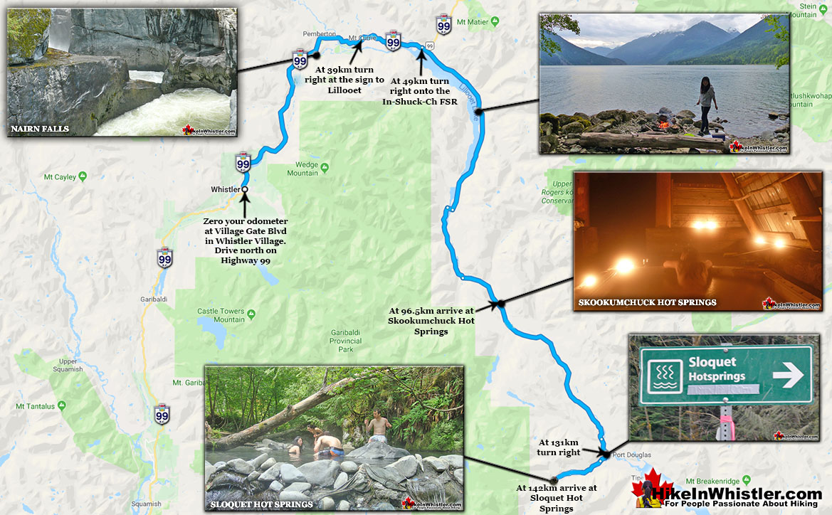 Sloquet Hot Springs Driving Map