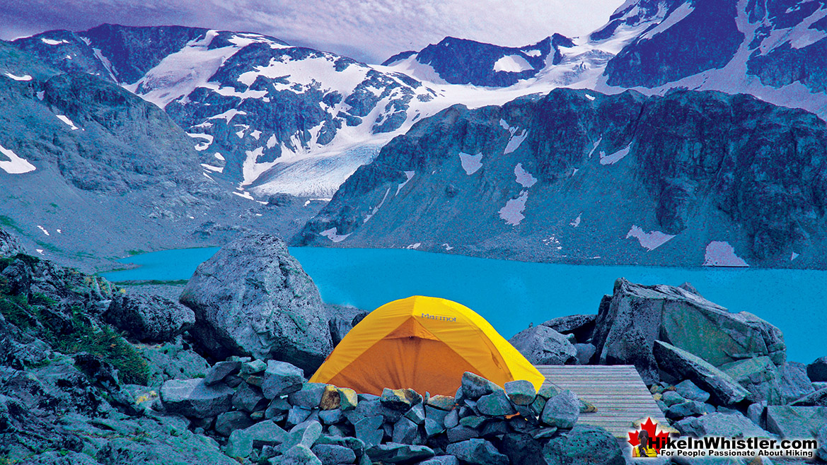 Wedgemount Lake Sunset Tent View