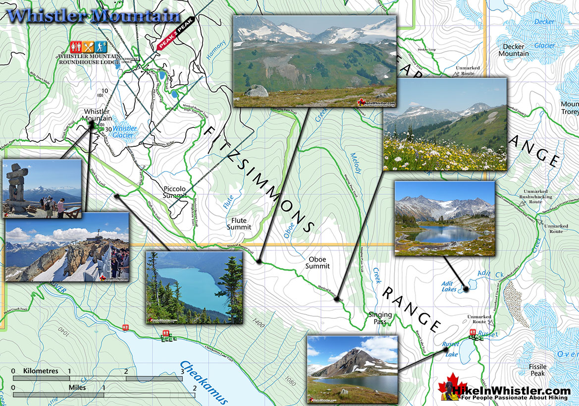 Whistler Mountain Hiking Map High Half Note